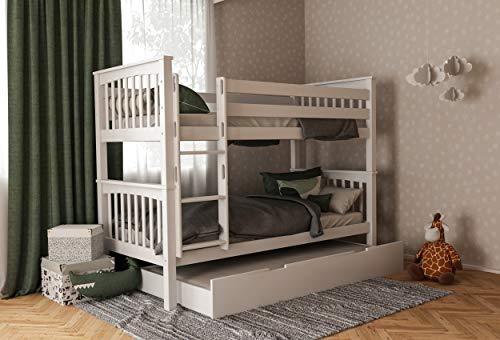 Etagenbett für Kinder mit Bettkasten, Stockbett mit Schubladen, Doppelstockbett 90x200 inkl. Lattenrost und Absturzsicherung, Liegefläche 90 x 200 cm, 100% aus Buche (Weiß, Zusatzbett)
