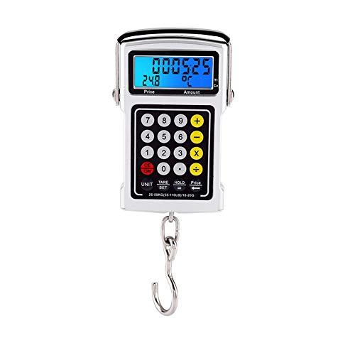Estink Báscula de Pescado, báscula electrónica de Pesca de 50 kg, con Cinta métrica Básculas Digitales para Equipaje Báscula Colgante Digital con Gancho