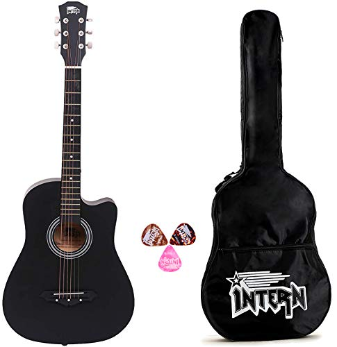 Intern 38-inch Cutaway Design Black Acoustic Guitar with Picks & Carry Bag
