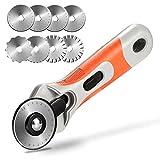 Rotary Cutter, AGPtEK Set di taglierine rotative da 45 mm con 8 lame di ricambio, blocco di sicurezza e impugnatura ergonomica rotante, perfette per tagliare tessuti, carte, schiume e pellami