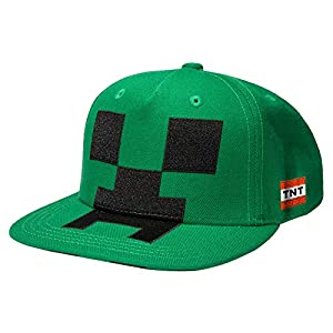 JINX Minecraft Creeper Mob Snapback Baseball Hat, Green, One Size