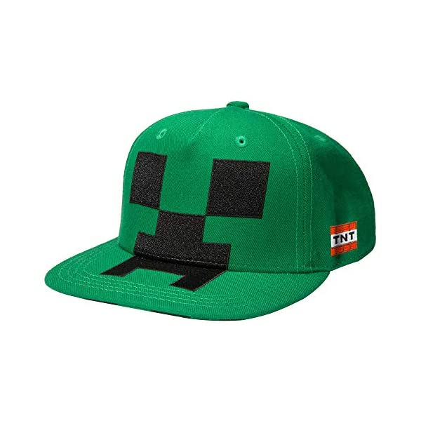 JINX Minecraft Creeper Mob Snapback Baseball Hat, Green, One Size