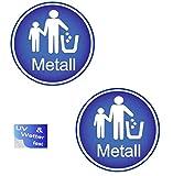Adhesivo genérico de basura de metal, 2 unidades, para Austria/Austria, adhesivo para cubos de basura (R9/1)