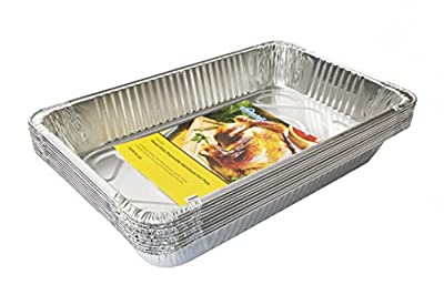 eHomeA2Z Aluminum Pans Full Size Disposable - 21 x 13 x 3 (10, Full-Size)