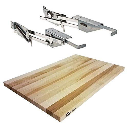 "Rev-A-Shelf - RAS-ML-HDCR - Full Height Base Cabinet Heavy Duty Mixer Lift - BUNDLE OF 2 ITEMS includes a 3/4"" x 12"" x 19"" Shelf Platform for 18"" width Base Cabinet Maple Butcher Block - Trimmable -  HomeProShops, RAS-ML-HDCR-SB-MBB-OF-34-12-19"