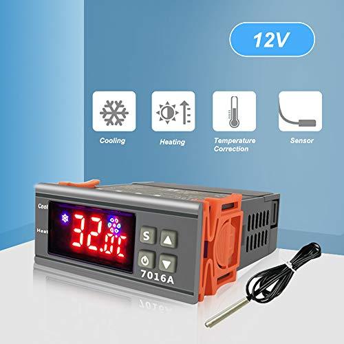 Kstyhome 7016A Digitaler Temperaturschalterregler 30A Hochleistungs-H ℉ Displayheizung Kühlung NTC-Sensor Temperaturregelungsthermostat für Gefrierschrank Kühlschrankluke