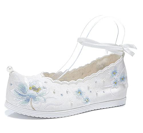 XLH Zapatos Bordados Retro De Lotus Pattern, Zapatos De Alemán Hanfu De...