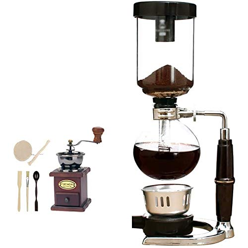 TGhosts Siphon Coffee Maker, Siphon Coffee Maker Set Coffee Syphon Siphon Coffee Pot Set 13 35.5cm(3 Cups), 13.5 37.cm(5 Cups) Vacuum Coffee Makers (Color : A, Size : 13.537.cm(5 cups))