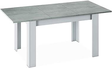 PEGANE Table a Manger Extensible décor béton et Blanc Artik - 78 x 140-190 x 90 cm