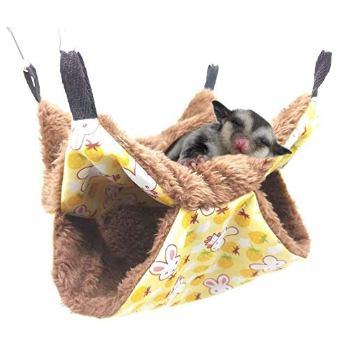 JKGHK Small Pet Cage Hammock Guinea Pig Cage Accessories Bedding for Small Animal Parrot Sugar Glider Ferret Squirrel Hamster Rat Playing Sleeping,Yellow,S