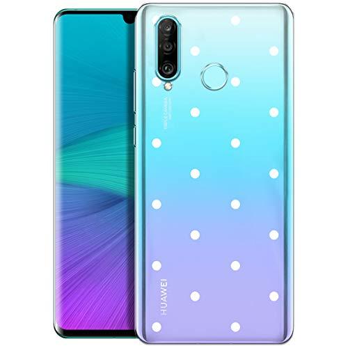 OOH!COLOR Handyhülle kompatibel mit Huawei P30 Lite Hülle transparent Silikon durchsichtig Bumper Ultra dünn Hülle mit Motiv weiße Punkte