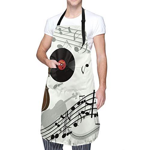 MAYBELOST Verstellbarer Hals Hängen Personalisierte Wasserdichte Schürze,Cello Violinpiano Grammophon Schallplatte Alt,Kitchen Latzkleid für Männer Frauen mit 2 Mitteltaschen
