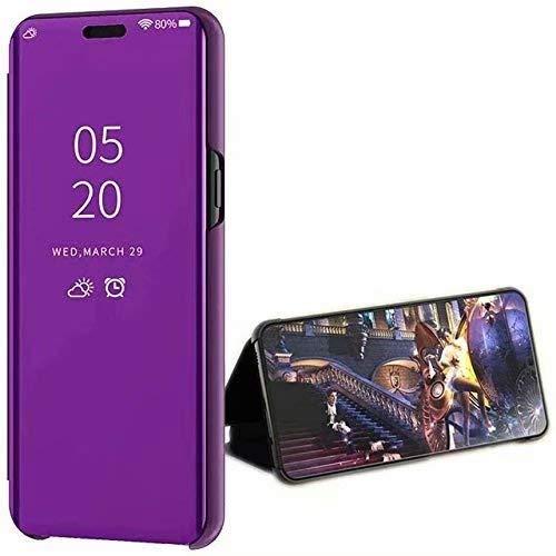 LsYun Coque Compatibile con Xiaomi Redmi Note 9 Cover Standing Cover Ultra Slim Mirror Flip Custodia PU+TPU 360°Antiurto Case Placcatura Specchio Protettiva Bumper Case-Porpora