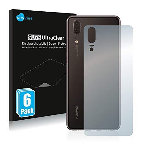 Savvies 6X Schutzfolie kompatibel mit Huawei P20 (Rückseite) Bildschirmschutz-Folie Ultra-transparent