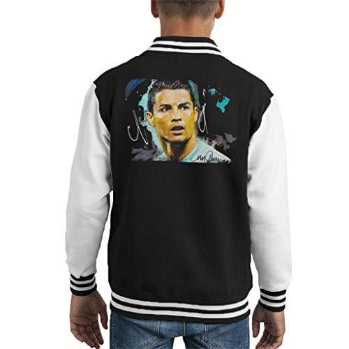 VINTRO Fußballer Cristiano Ronaldo Kinder Varsity Jacke Original Portrait von Sidney Maurer Professionell bedruckt Gr. XL, Jet Black Arctic White