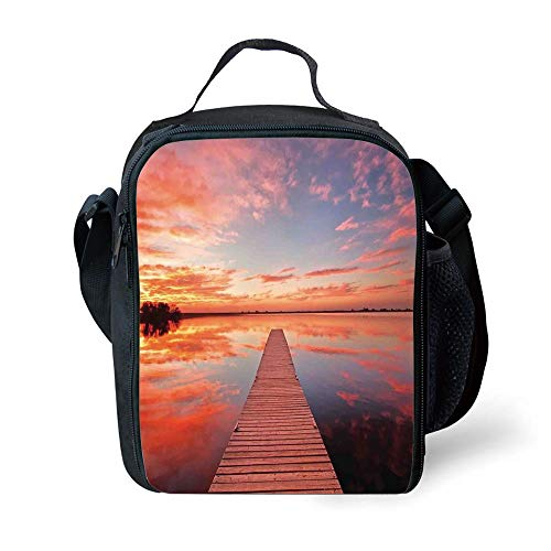 MLNHY School Supplies Lake House,Long View of The Timber Deck Pier Over Lake with Idyllic Sky at The Dawn Decorative,Orange Lavander for Girls or Boys Washable