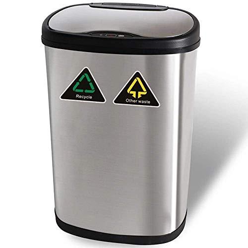 Amagabeli 50L Automatischer Sensor Mülleimer Edelstahl Berührungslose Infrarotbewegung Smart Sensor Mülleimer für Küchenabfälle Recyclingentsorgung Mülltonne