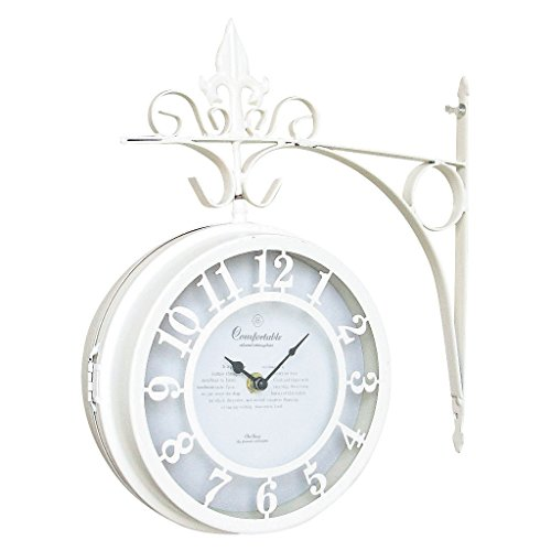 SPICE OF LIFE(スパイス) 壁掛け両面時計 OLD STREET ホワイト Lサイズ 直径30cm NHE801LWH