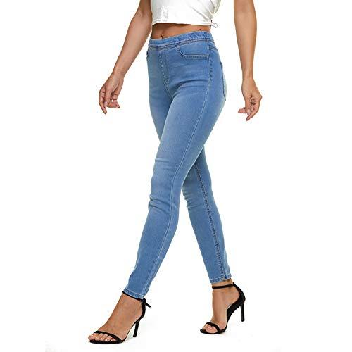 LICTZNEE Women's Pull On Skinny Jeans High Waist, Stretchy Jeggings Slim Fit Legging, Soft Breathable Cotton Blend, (Light Denim, X-Large)