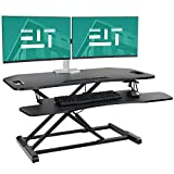 EleTab Height Adjustable Standing Desk Sit to Stand Gas Spring Riser Converter 37 inches Tabletop Workstation fits Dual Monitor