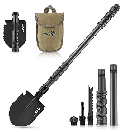 OUTLIFE Folding Shovel Mini Military Survival Shovel 2441 Inch Entrenching Tool with Carrying Pouch for Camping Hiking Backpacking Gardening Off Road