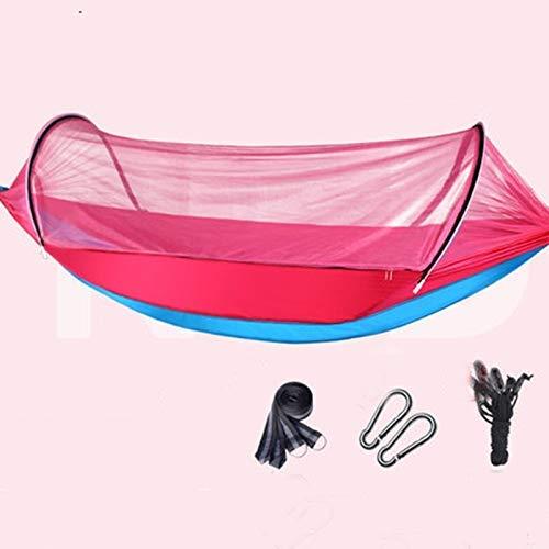 Lsmaa Sola Hamaca Doble al Aire Libre for Adultos al Aire Libre de la Cama Rollover se ensanchó for Aumentar el Columpio de la Hamaca de Mosquitos del hogar (Color: Rosa-a, tamaño: L)