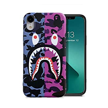 KUBEKE iPhone XR Case Street Fashion Shark Teeth/Shark Face Cartoon Designed Soft iPhone xr 6.1 Inch Cover Sleek Smooth Non Faded Slim Protective Anti-Scratch Case for iPhone Xr [zfyu]