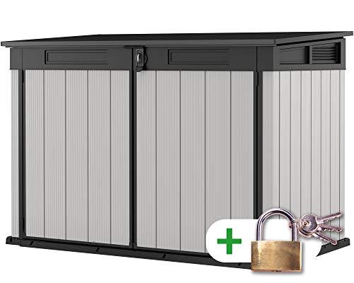 Ondis24 Keter Mülltonnenbox, inklusive Schloss, Müllbox 2020L, 3x240L Mülltonnen, Fahrräder, Gartengeräte, Gerätebox belüftet, Gartenbox & Mülltonnenverkleidung (2020 Liter Premier)