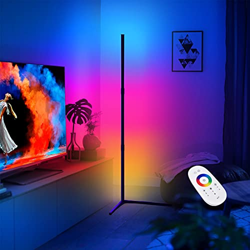 NODARK Floor Lamp LED Dimmable Corner Floor Lamp RGB Color Mood Light Modern Minimalist Nordic Floor Lamp with Remote Control, Floor Lamp Standing Lamp for Living Room Bedroom Gaming Room, Right Angle