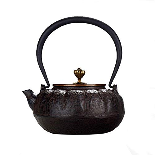 Infuser Teapot Ceramics Large Teaware, Cast Iron Teapots Tea Kettle with Pure Copper Pot Lid and Handle, for Electric Ceramic Stove, 1400ML