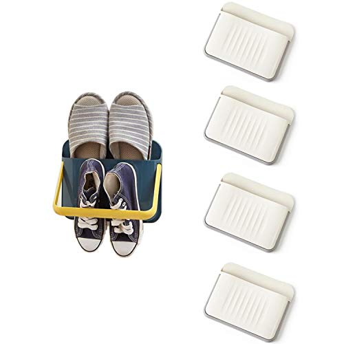Wall Mount Shoes Organizer Shelf Adhesive Door Hanging Plastic Shoes Rack Folding Shoes Holder For Kids Adult
