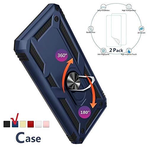 XJZ Compatible para Samsung Galaxy J3/J3 Pro Carcasa(2017) Funda+3D Vidrio Templado Protector de Pantalla/Caja Skin Hard Silicona Cojín antigolpes Caso Bumper 360° Giratorio Anillo Soporte Funda-Azul