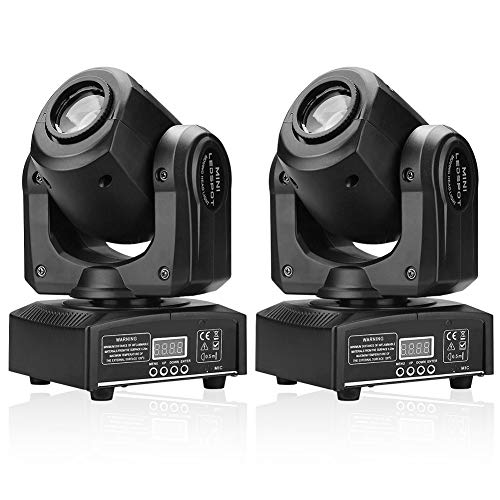 U`King Stage Lights Moving Head Lights 8 Gobos 8 Colors 11 Channels 25W Spotlight DMX 512 with Sound Activated for Wedding DJ Party Stage Lighting 2PCS