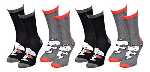 Disney Socks And Underwear – Calcetines para hombre con licencia Disney, Simpsons, Looney Tunes, de algodón, varios modelos de fotos según disponibilidad, multicolor Pack de 4 pares Snoopy Talla única