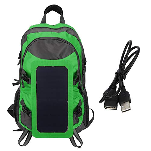 Rosvola Travel Backpack, Outdoor Backpack, Waterproof 20.1x13.8in Solar Panel Charger S‑shaped Shoulder Strap Foldable for Outdoor Camping Fishing(green)