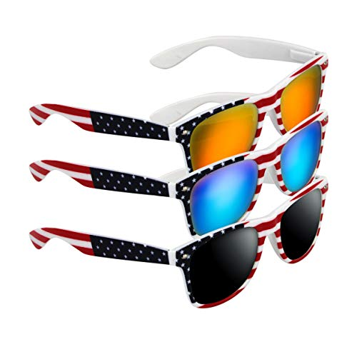 3 Pairs American Patriot Flag Beach and July 4th Series Sunglasses(White)