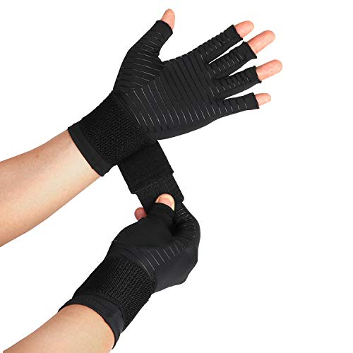 Thx4COPPER Compression Arthritis Gloves with Strap – Best Copper Infused – Fingerless Glove Hand Wrist Support for Carpal Tunnel, Arthritis, RSI, Tendonitis, Hand Pain Relief – Men/Women Pair
