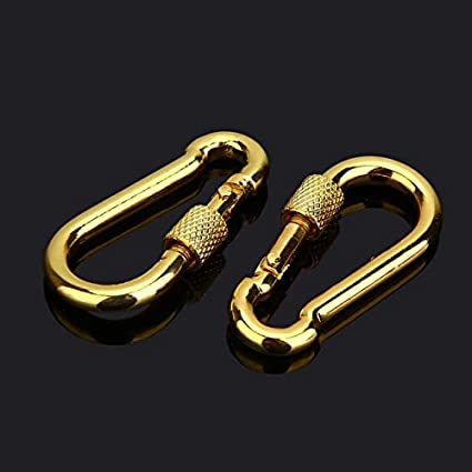 Color: Bronze Ochoos 2Pcs 5x50mm Snap Hook with Screw Quick Safe Lock Chain Fastener Hooks Carabiner Silver//Red Bronze//Gold Repair Hiking Camping