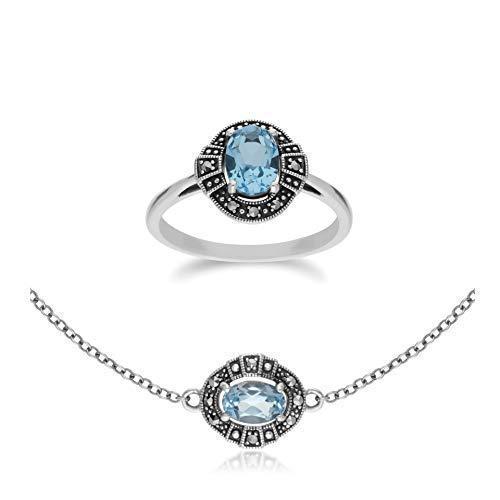 Gemondo in argento Sterling con topazio blu ovale e marcasite a grappolo e bracciale set