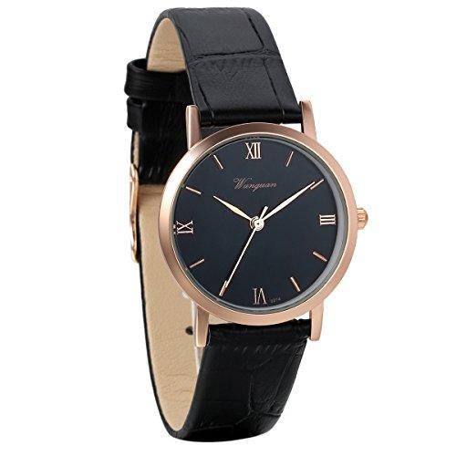 Reloj de Pulsera para Hombre y Mujer, Cuarzo Analógico con Números Romanos, Tono Oro Rosa y Correa de Piel Negra, Avaner