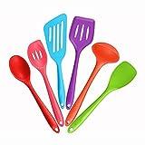 Utensilios de cocina de silicona Set de 6 utensilio de cocina de acero inoxidable Conjuntos de utensilios de cocina antiadherente Pan Suministros Espátula de silicona resistente al calor Set utensilio