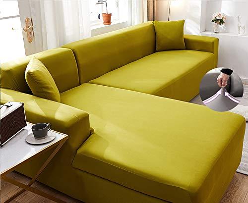 Funda De Sofá Moderno Jacquard Elasticidad Elasticidad Corner Couch Cubre Sofá Seccional De Tela Cubierta De Sofá Funda Elástica Para Sofá Para Mascotas Niños Niños-Amarillo 3 seaters190-230cm(75-91i