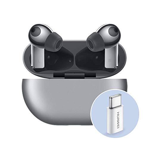 Huawei FreeBuds Pro con Adattatore Huawei AP52, Auricolari True Wireless Bluetooth con Cancellazione Intelligente del Rumore, Sistema a 3 Microfoni, Ricarica Wireless Rapida, Frost Silver