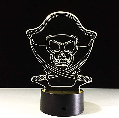 3D Ilusión lámpara de ilusión óptica para Cambio de pirata lámpara de escritorio creativa para cumpleaños Cambio de color colorido, con interfaz USB