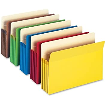 "Smead File Pocket, Straight-Cut Tab, 3-1/2"" Expansion, Legal Size, Assorted Colors, 5 Each Per Pack (74892)"