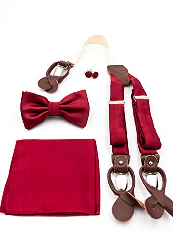 PUCCINI Gentleman-Box | Set Hosenträger, Fliege, Einstecktuch und Manschettenknöpfe | Handarbeit