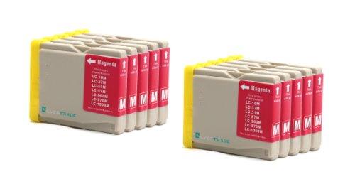 10x magenta Patronen kompatibel zu Brother LC1000M LC970M für Brother DCP - 130C 135C 150C 155C 330C 350C 540CN 560CN 750CW 770CW MFC - 230C 235C 240CN 260C 440CN 465CN 660CN 665CW 680CN 685CW 345CW 885CW 3360 5460CN 5860CN Brother Fax-1360 Fax-2480C