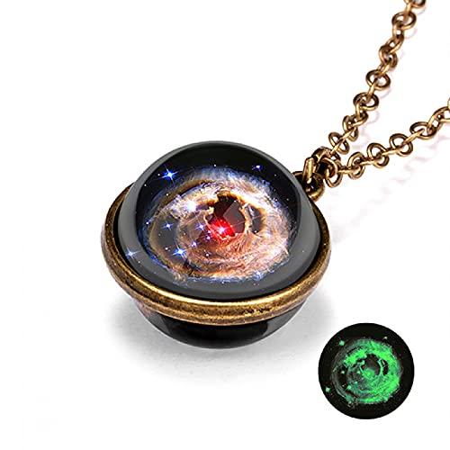 YIKOUQI Vintage Universo Galaxia Planeta Collar Que Brilla en la Oscuridad Bola de Cristal cósmica Colgante Collar Mujeres Luminoso Encanto joyería Regalos