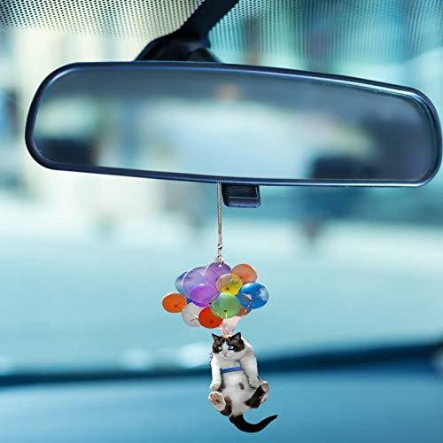Niedliche Katze Auto Anhänger Hängen Mit Bunten Luftballons, Katze Fliegt Zum Himmel Auto Spiegel Zubehör Tasche Anhänger Spielzeug (Cute Cat)