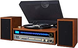 commercial Crossley 1975T turntable with bluetooth, CD, AM / FM, built-in speakers and walnut vintage stereo receivers